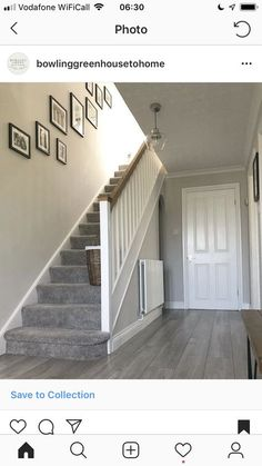 Hallway Renovation in a Art Deco House Grey Stair Carpet, Grey Carpet Hallway, Carpet Diy, Grey Carpet Bedroom, Gray Bedroom Walls, Grey Walls Living Room, White Carpet, Carpet Stairs, Carpet And Laminate Stairs