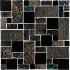 Shop Elida Ceramica Onyx Slate Glass Mosaic Square Indoor/Outdoor Wall Tile (Common: 12-in x 12-in; Actual: 11.75-in x 11.75-in) at Lowes.co...