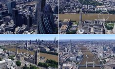 Google 3D arrives in London: Mapping service now lets users explore the capital's buildings using 45-degree aerial imagery
