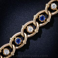 Antique Sapphire and Diamond Bracelet