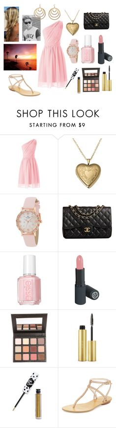 """""""Dinner on the beach with Niall"""" by sarahorantomlinson ❤ liked on Polyvore featuring Kate Spade, Chanel, Essie, Sigma Beauty, AERIN, Lime Crime, Pelle Moda and Pink Mascara"""