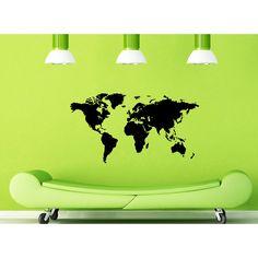 <li>Title: World Map</li> <li>Materials: Vinyl</li> <li>Color: Glossy black</li>