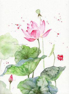 Watercolor illustration - Lotus