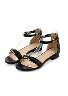 Black Leather with Buckle Flat Heel Sandal