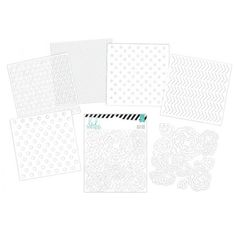 """This package contains twelve 6"""" x 6"""" die-cut sheets; 2 each of six designs. Add these to scrapbook pages and handmade cards, and let ink, glitter or other patterned paper to show through the die-cut shapes. You can also spray these sheets with ink and mists."""