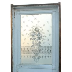 """Antique 19th Century 32"""" Door with Figural Etched Glass, Heron & Birds with Daffodils NED93 For Sale 