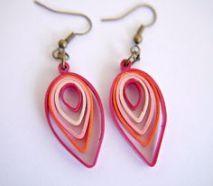 Shades+of+Pink+Leaf+Paper+Quilling+Earrings+by+FiligreeDelights,+$16.00