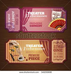Theatre tickets on wood horizontal banners set realistic isolated vector illustration