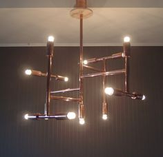 Steampunk vintage industrial copper pipe chandelier, handmade elegant light…
