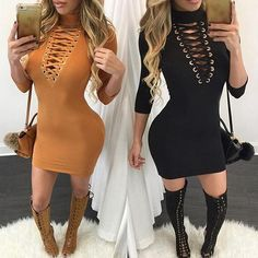 Sexy Women's Deep V Neck Hollow Out Bandage Dress