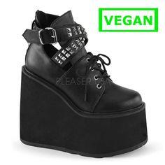 Swing-05 enkellaars met studs en plateau sleehak zwart mat - Gothic Emo Vegan