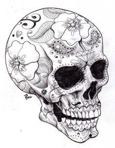 Dessin tatouage crâne et fleurs