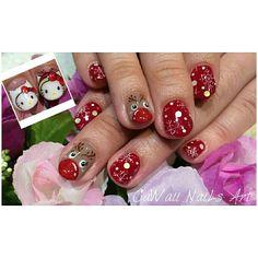 Kitty Kitty reindeer gelnail design.1 more day christmas is coming.. wish u a happy christmas day... good luck guys.. #christmasnail #reindeer #hellokitty #gelnail #nailswag #nailartdesign #nailstagram #nailartlover #nailsbyhelencawaii #nailfashion #nailsart #nailclub #nailart #number76nail #number76style #number76 #76style #76_style #クリスマスネイル #スノーフレーク #ジェルネイル #ネイルアート #痛ネイル #ハローキティ