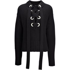 Joseph Chunky Cashmere Knit Lace Sweater (9.375 UYU) ❤ liked on Polyvore featuring tops, sweaters, shirts, long sleeves, black, lace shirt, oversized shirt, lace top, lacy tops and lace corset