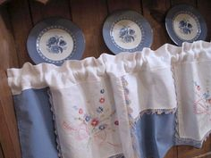 Repurpose Dresser Scarf Valance, Upcycle Chambrey and Embroidery, Window Treatment, Window Curtains, Blue Kitchen Curtain
