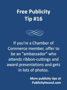 Free Publicity Tip 16-Become a Chamber of Commerce Ambassador