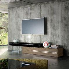 & & & & & Modloft Gramercy TV Stand in Walnut and Black Lacquer Tv Set Design, Tv Wall Design, Muebles Living, Tv Furniture, Modern Tv, Modern Contemporary, Diy Entertainment Center, Wall Mounted Tv, Living Room Tv