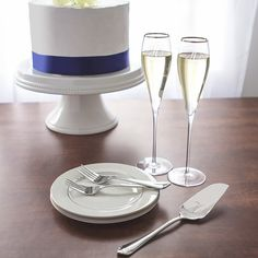 Mr. & Mr. 7-ounce Silver Rim Champagne Flutes and Keepsake Cake Serving Set
