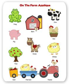 Farm Embroidery Applique Designs Animal Pig Cow Sheep Horse Frog Tractor Barn Hen