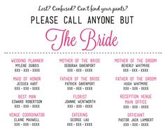 Please Call Anyone But the Bride - Print out and give to vendors, wedding party, and maybe post on your website.