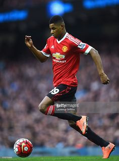 Marcus Rashford of Manchester United in action during the Barclays Premier League match between Manchester City and Manchester United at Etihad Stadium on March 20, 2016 in Manchester, United Kingdom. I Love Manchester, Manchester United Premier League, Manchester United Football, Marcus Rashford, Premier League Champions, Soccer Skills, Soccer Tips, Football Spirit, Eric Cantona
