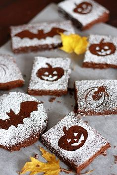 Halloween Brownies - cut out shapes and dust powdered sugar over top