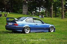 Estoril blue BMW e36 coupe on cult classic OZ AC Schnitzer type 1 wheels