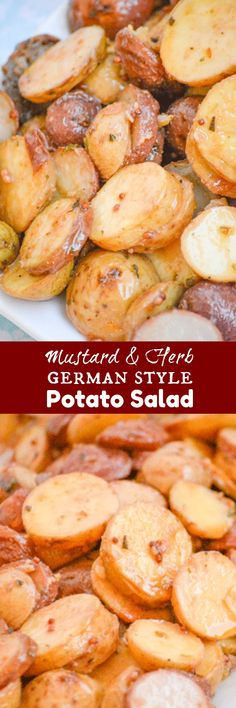 Warm Mustard & Herb German Style Potato Salad | Potato salad is a Southern staple, but just like your wardrobe- it's a dish that needs to up updated for the season. This Warm Mustard & Herb German Style Potato Salad is a cold weather 'must-have', seasonal side dish. | 4 Sons 'R' Us