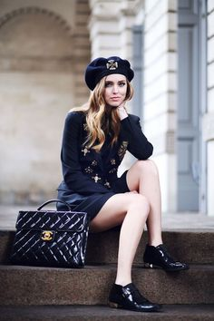 Chiara Ferragni :: Alberta Ferretti blazer, skirt and hat, Chanel bag, Valentino shoes