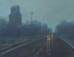 Brent Cotton  (American, b.1972)  Spring Rain, c.2012. Oil on board (palette knife).