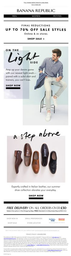 * Taglines: A Step Above. Newsletter Layout, Email Newsletter Design, Email Marketing Design, Email Design, Creative Fashion Photography, Web Design Inspiration, Design Development, Editorial Design, Banana Republic