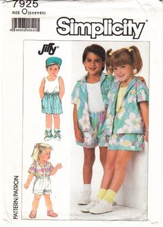Simplicity 7925 Child's Shirt, Shorts, Tank Top Sewing Pattern 5-6X Uncut