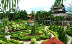 Suan Nooch Nong Garden in Pattaya, Thailand ----- This garden was developed in the year 1980. It has villas and restaurants along with pools. This garden is a house for plants and ornamental flowers. One of the major attractions of this garden is the cultural festivals where flowers are displayed in the most exotic and beautiful way. Nearly, more than two thousand visitors come to this garden daily.