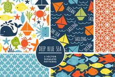 Check out Vector Deep Blue Sea Backgrounds by Cocoa Mint on Creative Market