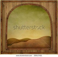 Background or illustration with  wooden texture vintage frame - stock photo