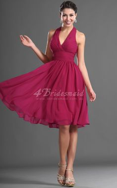 3944e224ce6 Halter V Neck Pleated Chiffon Knee Length Bridesmaid Dress