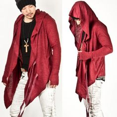 Avant Garde Super Unique Diabolic Hood Red Cape Cardigan - Cardigans & Sweaters | RebelsMarket