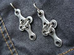 Earrings- Bike Chain Cross by hourglassproductions on Etsy.com