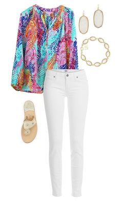 """styling Elsa tops"" by sassy-and-southern ❤ liked on Polyvore featuring Lilly Pulitzer, Paige Denim, Jack Rogers and Kendra Scott"