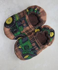 3f71dbf4d Children s Slippers Made with John Deere Tractor Fabric