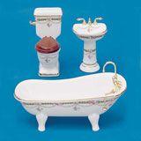 3-Pc. Victorian Rose Bath Set by Reutter Porzellan
