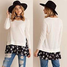 AMMIE roll up sleeve layered top - CREAM Solid roll up sleeve layered top featuring floral contrast. Non-sheer. Unlined. Knit. Light weight. 65%POLYESTER 35%RAYON NO TRADE, PRICE FIRM Bellanblue Tops Tees - Long Sleeve