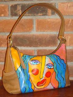 Hand Painted Handbag Purse Shoulder Bag