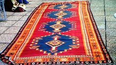 Stunning vintage Turkish Kelim in vibrant navy and oranges and red  3m x 2m  fine wool and weave  on sale for R20000.00 900 pounds  www.bokharadecor.com