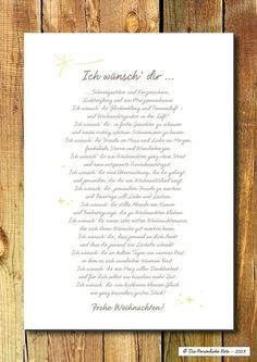 """""""Ich wünsch' dir Schneegestöber und Kerzenschein, Lichterglanz und ein Marzipanschwein ..."""" Gute Wünsche zu Weihnachten sind ein richtig schönes Geschenk. Und noch schöner sind sie in Reimform! - Druck/Wandbild/Print: Weihnachtswünsche - Gedicht"""