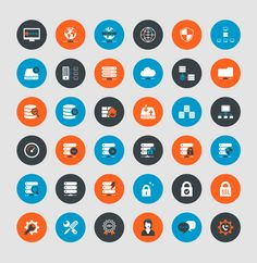 hosting and technical web systems icon set