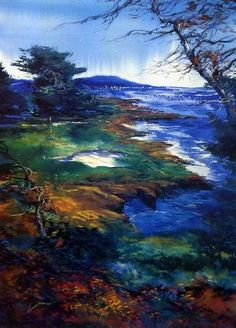In this CYPRESS COAST version by Michael Schofield, he shows the golf course on this 308 acre land. The hole sits right near the ocean as the storm come trembling in. This print is signed and is avail