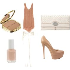 tan, created by boedlo on Polyvore. Other than platform heels being WAY TOO tall, I love this!!