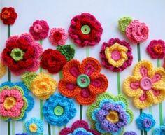 Crochet Botão Padrão Flores grátis