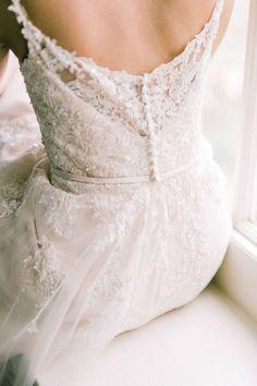 Elegant wedding dress details.